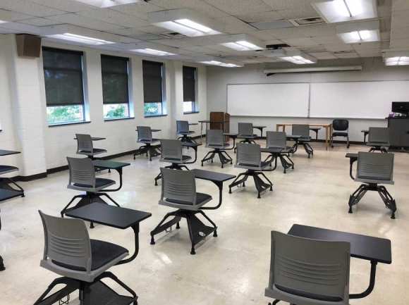 A shots of a classroom in Killian shows the results of efforts to set the stage for social     distancing in WCU's classrooms this fall. WCU photo
