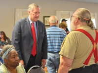 N.C. 11th District Congressman Mark Meadows (center) talks with veterans at the Haywood County Senior Resource Center this past August. Cory Vaillancourt photo