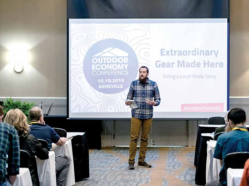 Cory McCall, co-owner of Franklin-based Outdoor 76, shares his experience in the outdoor industry during the 2019 conference.