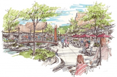 "Designed by Johnson Architecture and IBI Placemaking, the Cherokee Cultural Corridor Plan includes a ""maker's space"" and public mall, among other features. Johnson Architecture illustration"