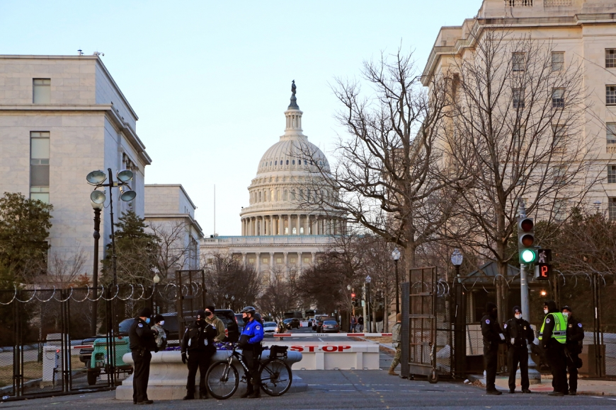 Capitol police guard a checkpoint just south of the Capitol dome in Washington, D.C. on Jan. 18.