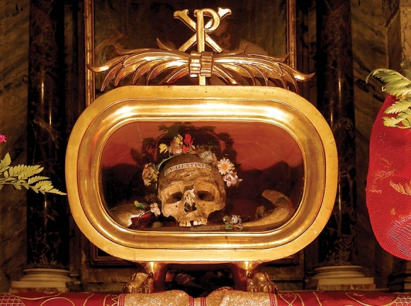 Relic of St. Valentine in the church of Santa Maria in Cosmedin, Rome. wikipedia