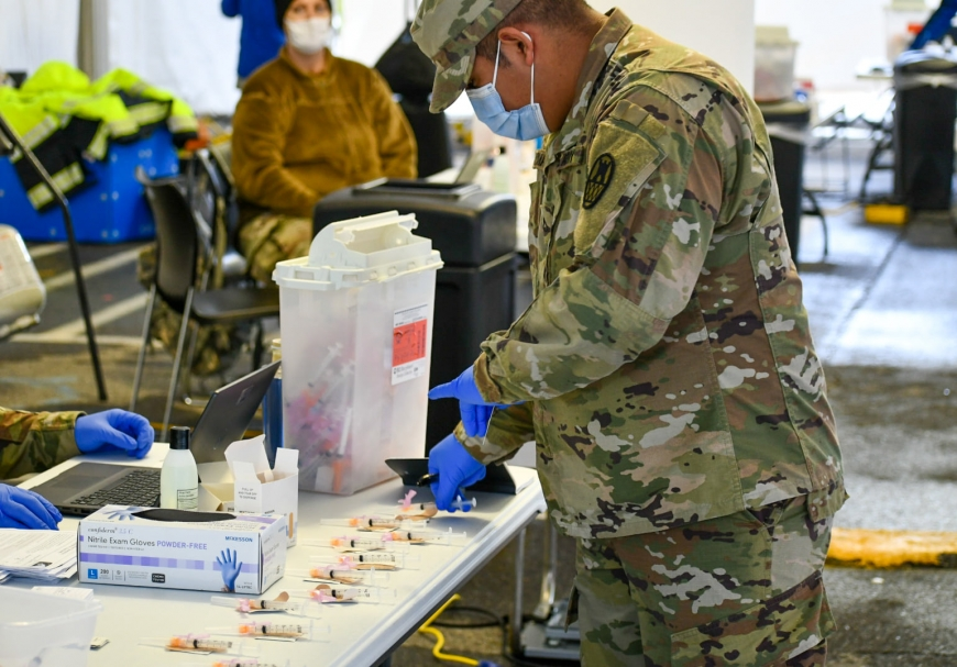 A National Guardsman works during a drive-thru vaccination event on Feb. 11. Jackson County photo