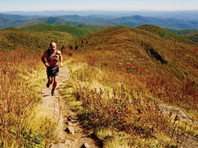 Andrew Shepherd runs the Art Loeb Trail at Tennant Mountain.  Steve Reinhold photo