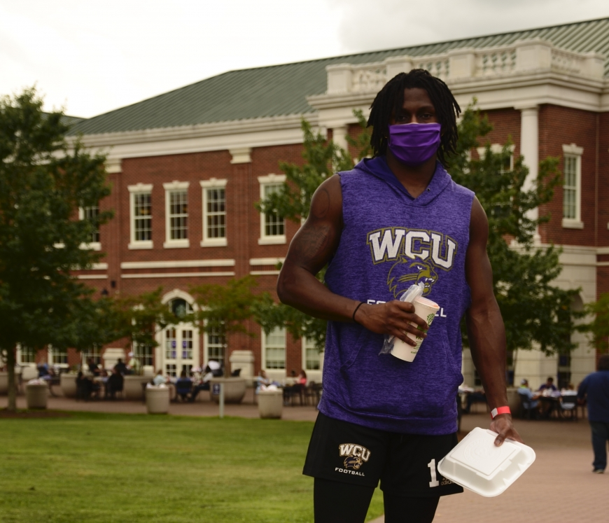 Even outdoors, masks are a frequent sight on the Western Carolina University campus.