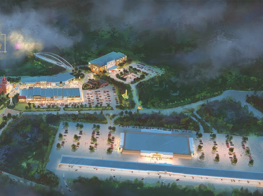 The newly unveiled vision for a road trip themed development along Interstate 40 in Sevierville is expected to welcome visitors starting in 2022. Donated rendering