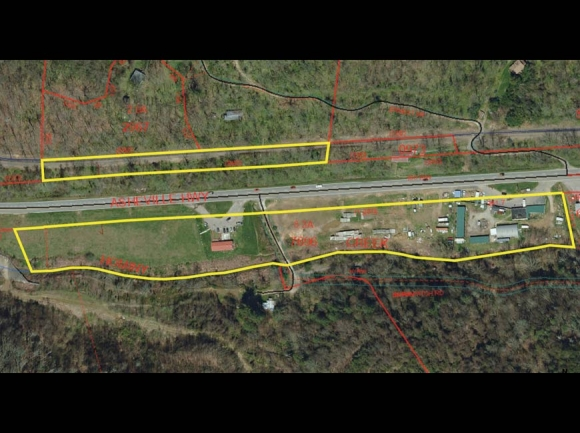 The Town of Canton has made an offer to purchase the west end of a parcel on the northern border of the Chestnut Mountain tract. Haywood GIS photo