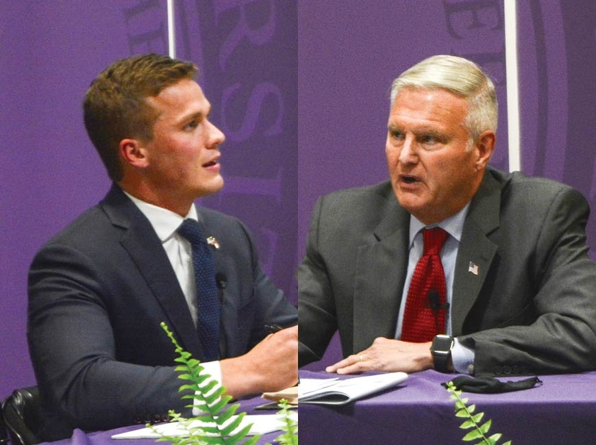 Republican Madison Cawthorn (left) and Democrat Moe Davis squared off last weekend in a debate series that marked their first face-to-face meeting of the campaign, during which both candidates are seeking to replace Mark Meadows as Western North Carolina's congressional representative. Holly Kays photos